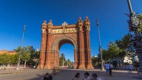 Arc de Triumf timelapse hyperlapse: L'Arc de Triumph, in Barcelona, Spain stock footage