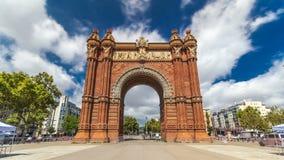 Arc de Triumf timelapse hyperlapse: L'Arc de Triumph, in Barcelona, Spain stock video