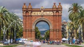 Arc de Triumf timelapse: L'Arc de Triumph, in Barcelona, Spain stock video footage
