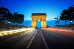 Arc de Triumph στο βράδυ, Παρίσι Στοκ Εικόνες