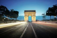 Arc de Triumph στο βράδυ, Παρίσι Στοκ εικόνα με δικαίωμα ελεύθερης χρήσης