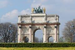 Arc de triumph du carrousel. The Arc de triumph du carrousel, between the museum of Louvre and the Tulleries gardens, in Paris Royalty Free Stock Photos