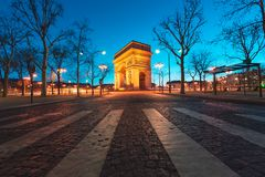 Arc de Triumph in Paris, France. Arc de Triumph at dusk in Paris, France Stock Photos