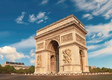 Arc de Triumph in Paris, France. On a bright morning. This image is toned Royalty Free Stock Photo