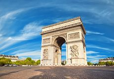 Arc de Triumph in Paris, France. On a bright sunny day in Spring Stock Photo