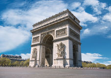 Arc de Triumph in Paris, France. On a bright sunny morning Royalty Free Stock Photo