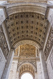 Arc de Triumphe stone vault. Carving ornaments, Paris, France Stock Photography