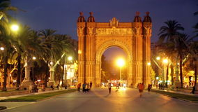 Arc del Triomf in  twilight. Barcelona stock video footage