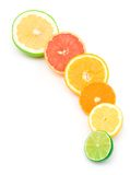 Arc of different citruses. Halves of a lime, lemon, mandarine, orange and grapefruits placed on white background Royalty Free Stock Photos