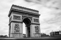 Arc du Triomphe. The awesome arc du triomphe in paris in a black and white version Stock Image