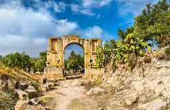 Arc of Emperor Severus Alexander at Dougga. UNESCO heritage site in Tunisia. Arc of Emperor Severus Alexander at Dougga. A UNESCO heritage site in Tunisia, North Royalty Free Stock Photo