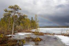 Arc-en-ciel au-dessus de paysage neigeux image stock