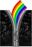 Arc-en-ciel au-dessus des jeans avec la tirette Images libres de droits