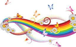 Arc-en-ciel avec des fleurs   Images libres de droits