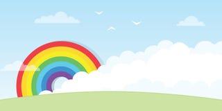Arc-en-ciel avec le grand nuage illustration libre de droits