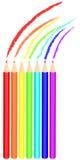 Arc-en-ciel coloré de dessin au crayon Photographie stock
