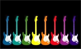 arc-en-ciel coloré de guitares Images stock