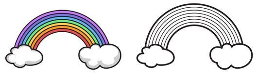 Arc-en-ciel coloré et noir et blanc pour livre de coloriage Photo libre de droits