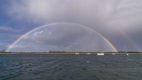 Arc-en-ciel complet superbe sur la côte de l'île de kangourou, Australie du sud photo stock
