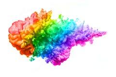 Arc-en-ciel d'encre acrylique dans l'eau Explosion de couleur image stock