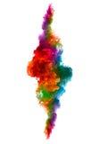 Arc-en-ciel d'encre acrylique dans l'eau Explosion de couleur Photos libres de droits