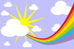 Arc-en-ciel dans le ciel avec le soleil et des nuages Photo stock