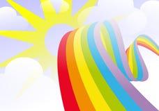 Arc-en-ciel dans le ciel avec le soleil et des nuages Photographie stock libre de droits