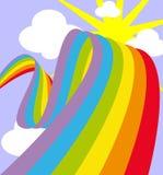 Arc-en-ciel dans le ciel avec le soleil et des nuages Photo libre de droits