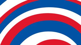 Arc, arc-en-ciel de courbes de couleur blanche rouge bleue sur le quatrième juillet de thème de drapeau américain illustration stock