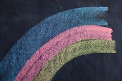 Arc-en-ciel de dessin avec les craies colorées sur le tableau noir Photos libres de droits