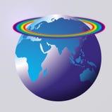 Arc-en-ciel de globe du monde Images libres de droits