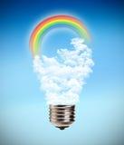 Arc-en-ciel de paix d'idée d'ampoule Photographie stock
