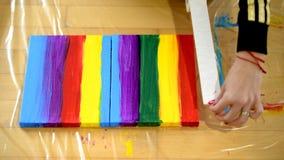 Arc-en-ciel de peinture sur la toile, fierté gaie, concept de transsexuality photographie stock libre de droits