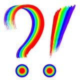 Arc-en-ciel de question et de marques d'exclamation peint illustration de vecteur