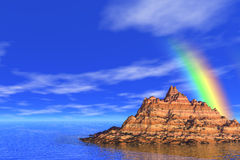 Arc-en-ciel en mer Photo libre de droits