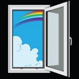 Arc-en-ciel et nuages par la fenêtre Image libre de droits