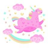 Arc-en-ciel et Unicorn Funny Girly Drawing Image stock