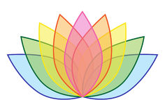 Arc-en-ciel Lotus Flower Icon Logo sur l'illustration blanche 1 de fond Images stock