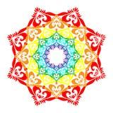 Arc-en-ciel Mandala Isolated sur le blanc Élément décoratif oriental Photo libre de droits