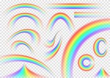 Arc-en-ciel réglé sur le fond transparent Voûte réaliste de pluie illustration de vecteur