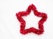 Arc-en-ciel rouge de Noël de scintillement d'isolement sur le fond blanc Photos libres de droits