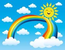 Arc-en-ciel, soleil et nuages Images libres de droits