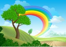 Arc-en-ciel sur une campagne illustration de vecteur