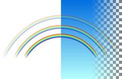 Arc-en-ciel translucide semi-circulaire triple illustration libre de droits