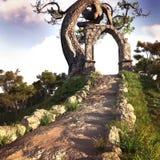 Arc en pierre sur la colline Image stock