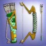 Arc, flèche et tremblement de jeu illustration de vecteur