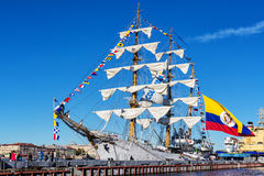 ARC GLORIA barque, which is a training ship and the official flagship of the Colombian Navy, on a visit to St. Petersburg Royalty Free Stock Photo