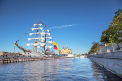 ARC GLORIA is a barque, which is a training ship and the official flagship of the Colombian Navy, on a visit to St. Petersburg Royalty Free Stock Image