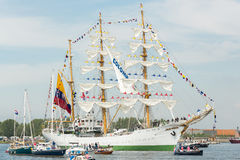 ARC Gloria - Sail Amsterdam 2015. Amsterdam, The Netherlands - August 19, 2015: Cadets from the Naval school on the Colombian ARC Gloria standing on the masts Royalty Free Stock Photos