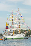 ARC Gloria - Sail Amsterdam 2015. Amsterdam, The Netherlands - August 19, 2015: Cadets from the Naval school on the Colombian ARC Gloria standing on the masts Royalty Free Stock Images